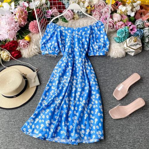 JOYMANMALL Women Summer Daisy Floral Dress Sexy Slash Neck Puff Sleeve Elastic Ruched Dress Boho Off Shoulder Print Short Dress