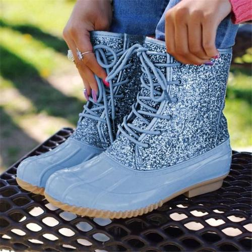 women mid-calf boots low heels chaussure vintage shiny glitter deco lace up shoes woman w36  botas mujer invierno