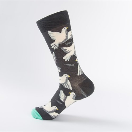 Personality Flower And Bird Sketch Series Couple Socks