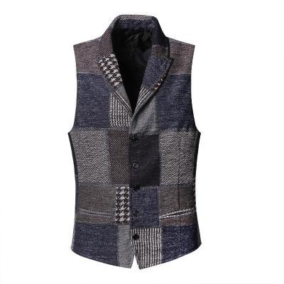 Spring Stitching Retro Patch Plaid Woolen Casual Slim Waistcoat for Men Wedding European Style Brand Men's Suit Vest