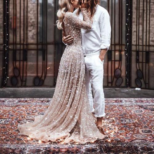 Fashion Round Collar Long Sleeved Bare Back Dress