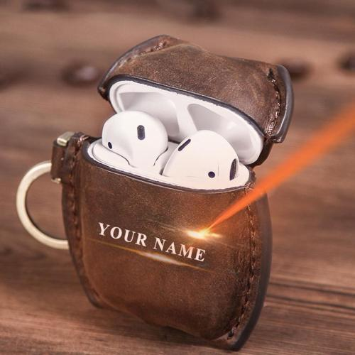 Custom Name Oil Nubuck Leather AirPod Case Cover With Keychain
