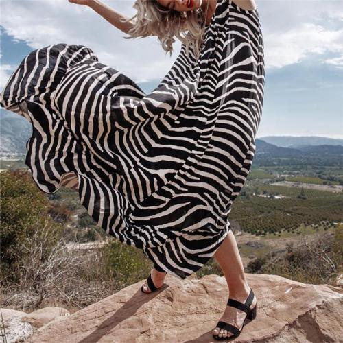 Sexy Sleeveless Striped Stitching Maxi Dresses Evening Dress