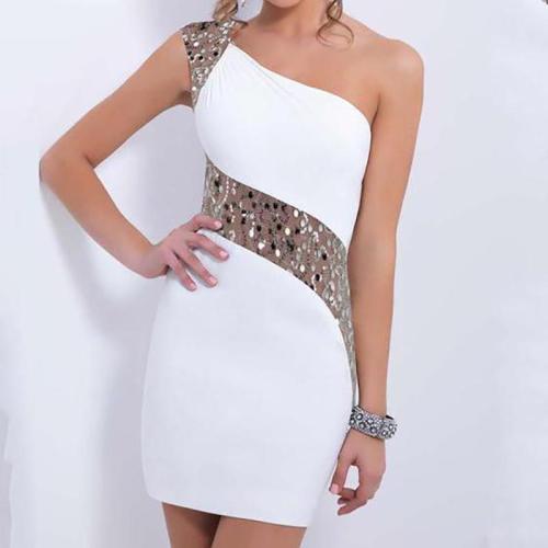 Sexy One Shoulder Sequin Short Dress