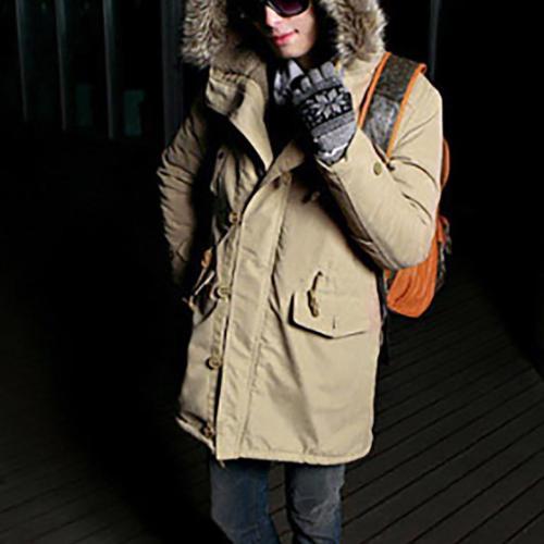 Fashion Men Thicken Packet Winter Floss Long Jacket Coat