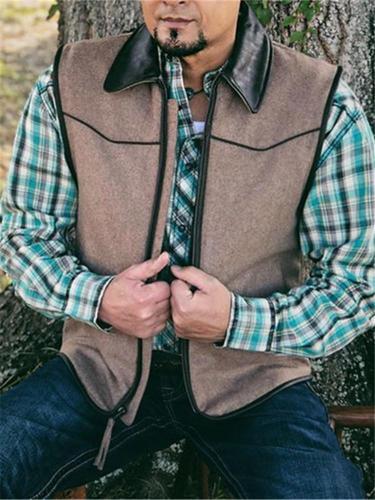 Men's Fashion Retro Stitching Khaki Vest