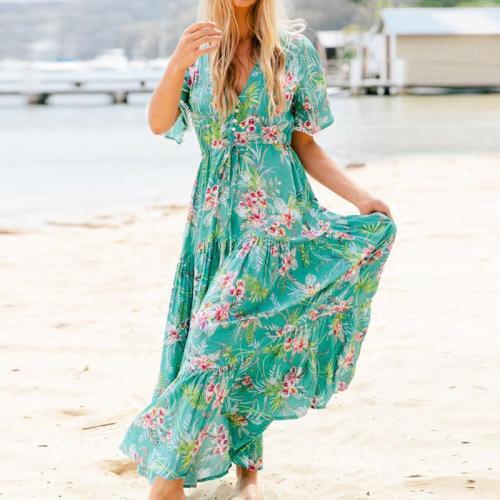 Fashionable V-Neck Print Pendulum Dress Evening Dress
