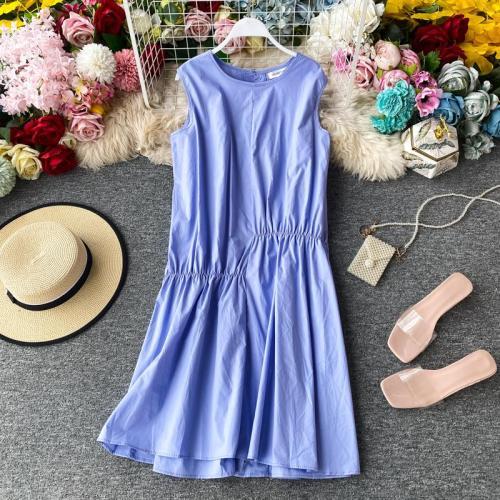 JOYMANMALL Women Simple Fashion Midi Dress Summer Korean Loose Sleeveless A-line Dress Asymmetrical Ruched Simple Midi Dress
