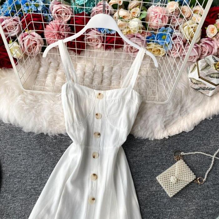 JOYMANMALL Women Summer Strap Dress Single Breasted Elastic Ruched Backless Midi Dress Sexy Off Shoulder Holiday Beach Sundress