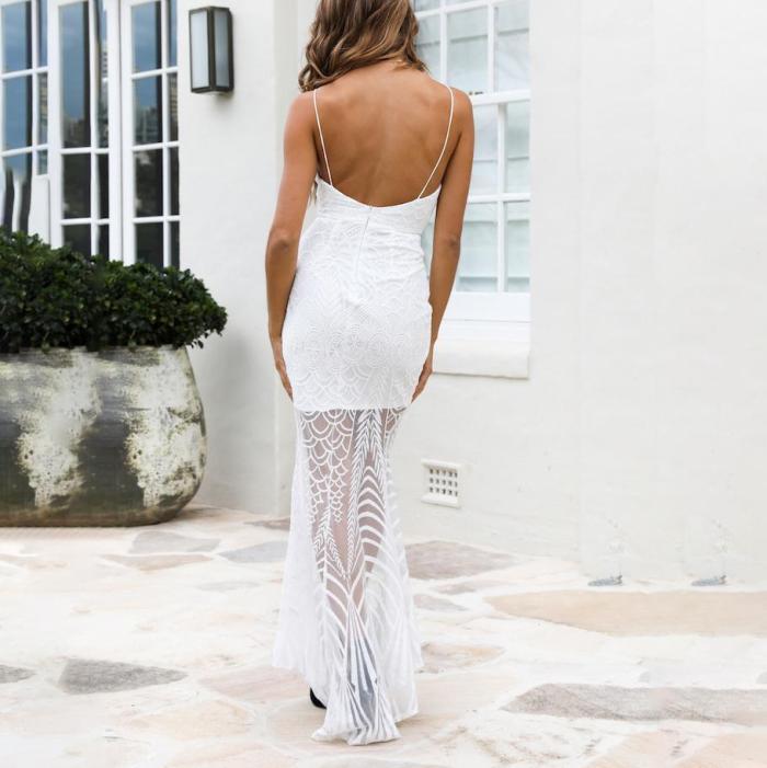 Sexy deep v collar plain split joiont maxi dress