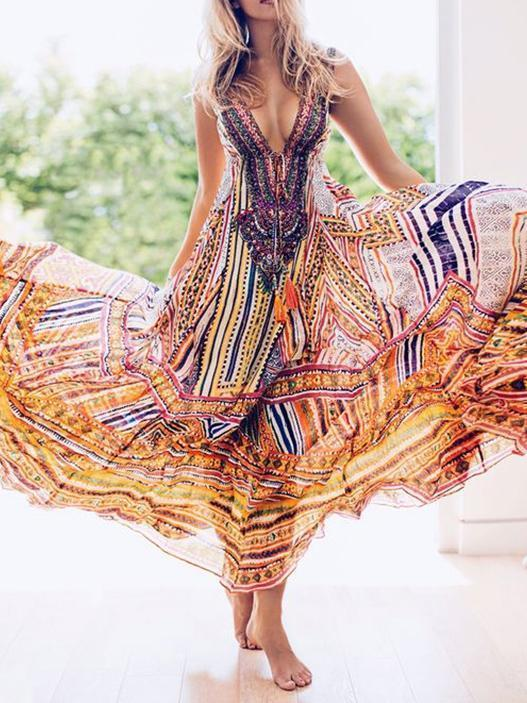 Bohemia Print V-neck Straps Maxi Dress