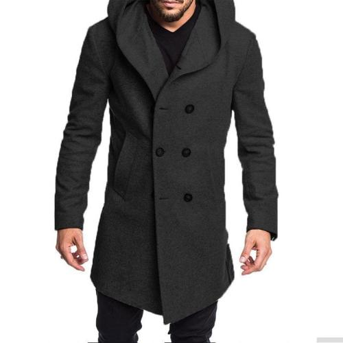 Casual Plain Thicken Warm Hooded Long Sleevs Long Woolen Coat