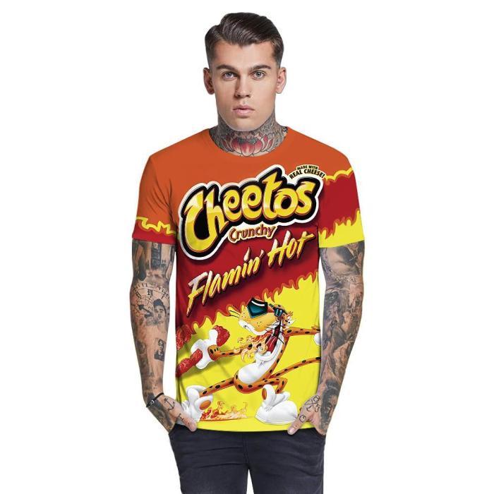 3D Cheetos Printed Funny Men T-shirt Loose Casual Novelty Short Sleeve Tees Top