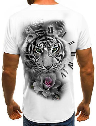 Men Street Chic 3D Animal Print T-shirt