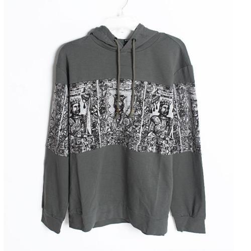 King Warrior Pattern Loose Hooded Long Sleeve Hoodie Jacket