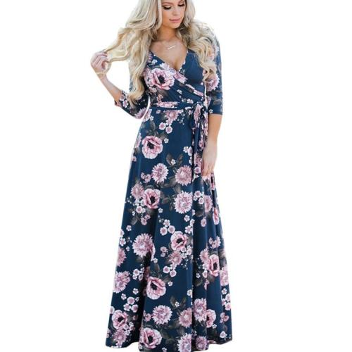 V Neck Casual Wrap Floral Maxi Dress Spring Summer New Tunic Print Casual Long Dreses Beach Party Robe Femme Vintage Vestidos