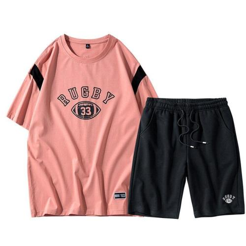 Suit Men's Streetwear Pattern Letters Printed Hip Hop Sports Skateboarding Loose-Fit High Quality Brand T-shirt and Shorts
