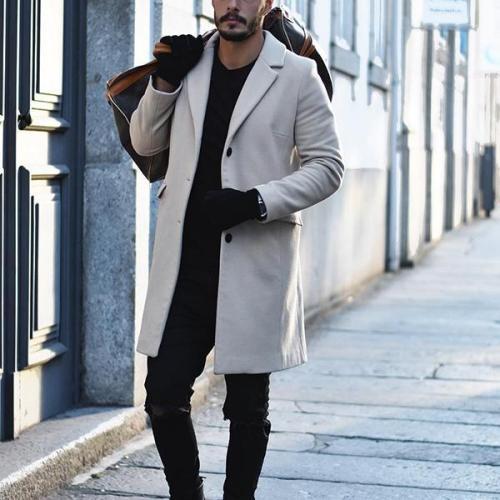 Men's Long Buttoned Wool Coat