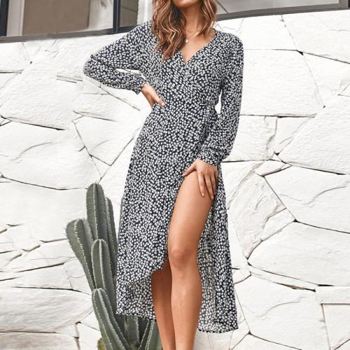 Glamorous Long Sleeve Floral Pattern Irregular Dress