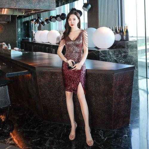Sexy banquet evening dress short black sequin evening dresses party Formal Evening Dress V-neck beaded evening gown
