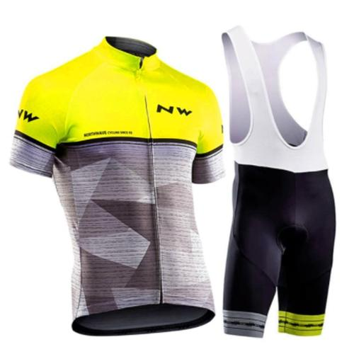 2019 New NW Summer Cycling Jersey Set Breathable Team Racing Sport Bicycle Jersey Mens Cycling Clothing Short Bike Jersey Suit