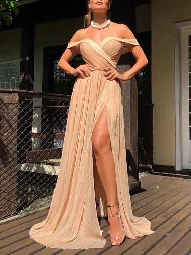 Women's Classy Sexy Bare Back Split Dress Evening Dress