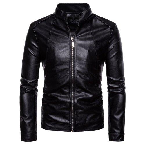 Fashion Cool Plain Leather Zipper Lapel Collar Jacket