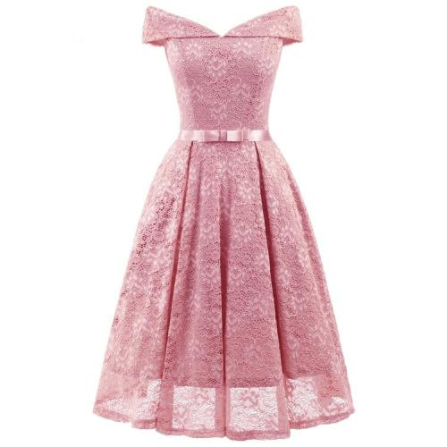 fashion Short Evening Dress Lace Bow A-line Party Formal Dress elegant Graduation Dresses Large size  party  gown