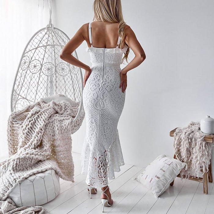 Sexy Deep-v Sling Lace Bodycon Dress