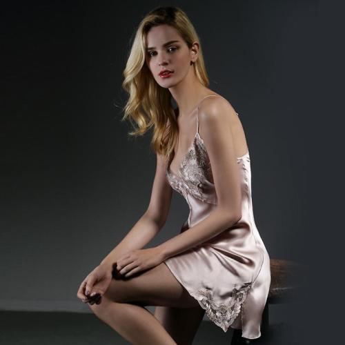 100% mulberry   silk nightdress women 2020 new sexy nightgown female summer lace  silk sleeping dress nighty   Pink Blue