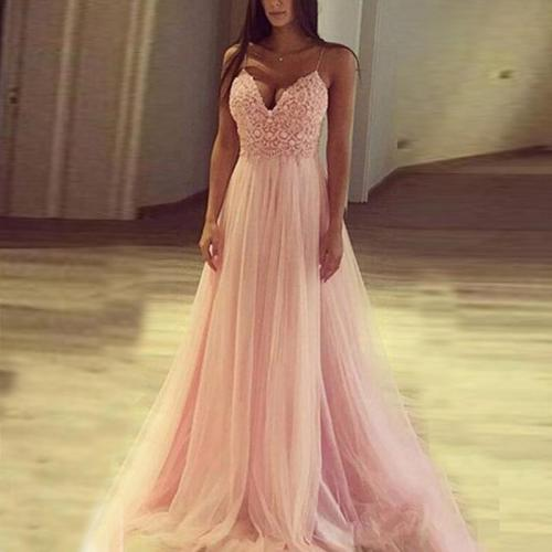 sexy pink lace Sequin sleeveless floor-length sling dress