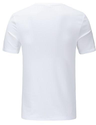 Men Graphic And Letter Round Neck White T Shirt