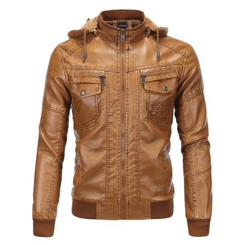 Men'S Clothing Leather Jacket Velvet Warm Winter Leather Hooded Fur Coat 1259