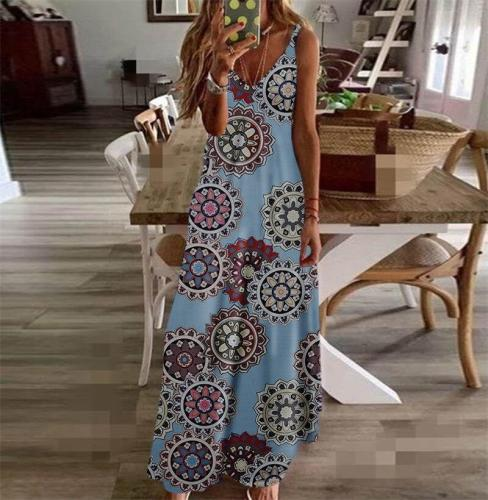 Print all Round Show Thin Dress Spring Summer Basic Personalized Dress V collar Candy Color Women's Casual Dress
