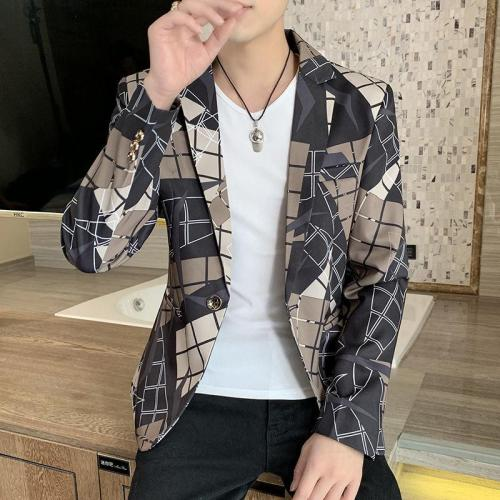 Stylish Dress Prom Blazers For Men Casual Slim Club Stage Singer Suit Blusa Masculina 2020 Korean Plaid Suit Blazer Jacket Men
