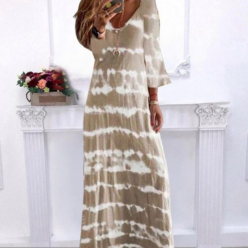 V Neck Long Dress Casual Women Tie-Dye Print Beach Sundress Maxi Dress