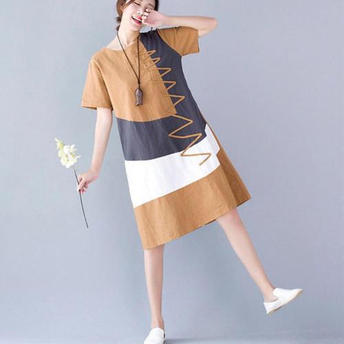 Supermiss Women Linen Summer Dress 2020 Plus Size Elegant Long Top New Casual Cotton Ladies Patchwork Short Sleeve Dresses