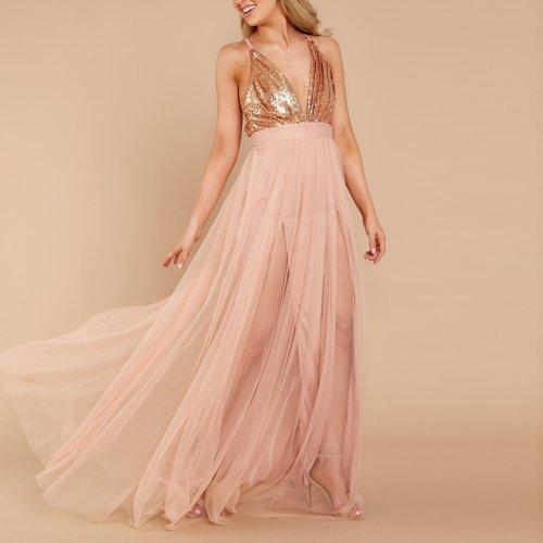 Sexy Pink Sequins Sleeveless Evening Maxi Dress