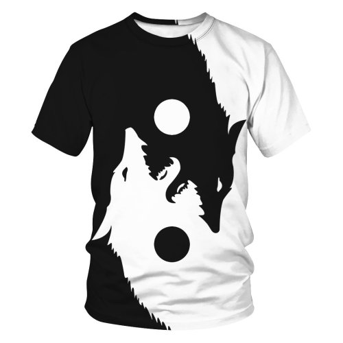 3D Wolf Printed Funny Men T-shirt Loose Casual Novelty Short Sleeve Tees Top