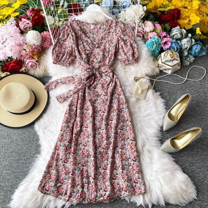 JOYMANMALL Women Summer Floral Midi Dress Sweet Puff Sleeve V Neck Lace up A-line Dress French Bohemian Print Beach Sundress