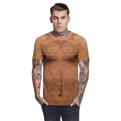3D Hairy Chest Funny Men T-shirt Loose Casual Novelty Short Sleeve Tees Top