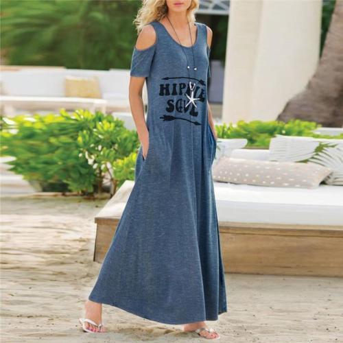 Women's Off-The-Shoulder Short-Sleeved Letter Print Dress