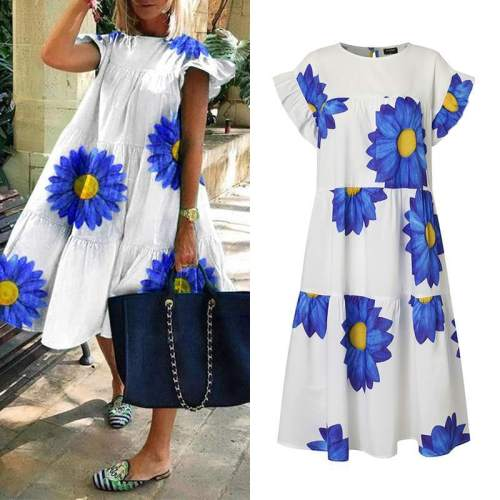 Short Sleeve Crew Neck Floral Printed Dresses Casual Loose Holiday Knee-Length Dress Casual Dress