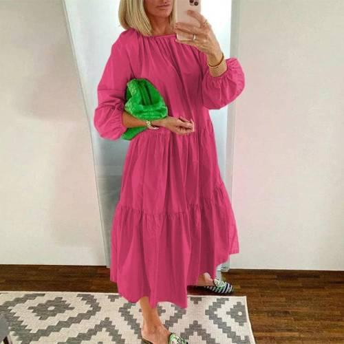 Long Lantern Sleeve Dress 2020 Women O Neck Solid Color Dresses Autumn Plus Size Bohemian Casual Dress