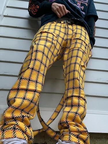 Yellow plaid casual mens pants TT010