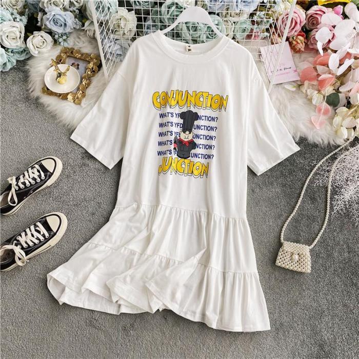 JOYMANMALL Women Summer Cute Cartoon Print Blouse Dress Casual Loose Short Sleeve Ruffless Dress French Sweet Cotton Letter Dress
