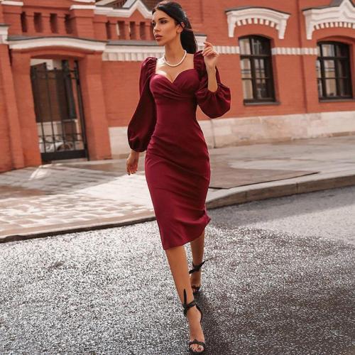 Burgundy V-neck Puff Sleeve Midi Dress