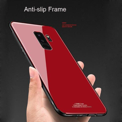 Shockproof Soft Edge Glass Back Phone Hybrid Solid Case For Samsung S9 S9 Plus