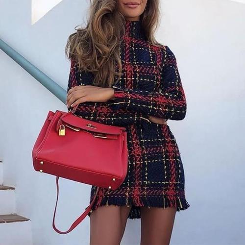 Fashion Elegant Long Sleeve Turtle Neck Tassels Mini Dress