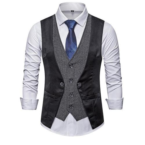 Flashmay Men's Business Single-Breasted V-Neck Fake Two-Piece Suit Vest